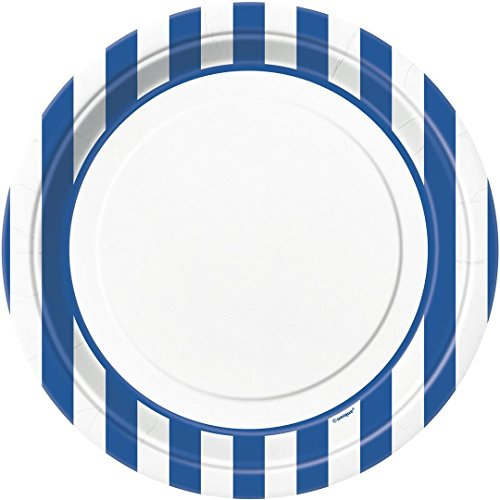 Royal Blue Striped Paper Plates, 8ct]()