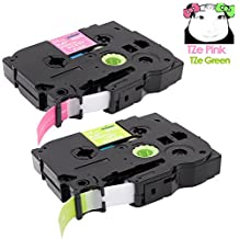 2-Pack (Lime Green/Berry Pink) 1/2 inch Compatible TZe TZ Standard Laminated Tapes for Brother P-Touch Cube, Embellish, PT-D200, PT-1290 Label Maker, 16.4 Feet Each