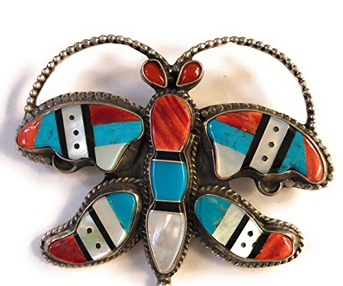 Vintage Navajo Sterling Silver Multi Stone Pin/Pendant Signed from Nizhoni Traders LLC