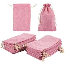 Jewelry Pouch Drawstring Bags – 24 Piece Burlap Gift Bags for Jewelry, Wedding, Arts and Crafts, Favors, Pink, 7 x 4.5 Inches