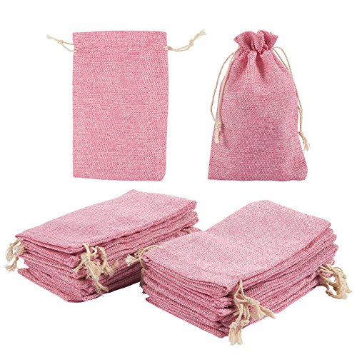 Jewelry Pouch Drawstring Bags – 24 Piece Burlap Gift Bags for Jewelry, Candy, Wedding, Arts and DIY Crafts, Baby Showers, Festival Occasions - Party Favors, Pink, 7 x 4.5 inches