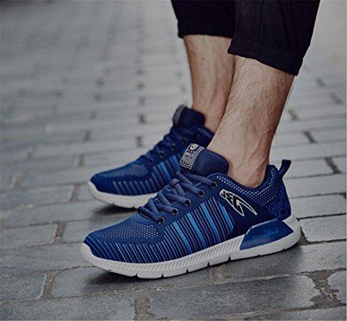 Santimon Joggingschuhe durch Leicht Stoßdämpfung Freizeit Herren Rennen Walking Turnschuhe Blau