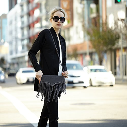 Leather Handbags Suede Fringe Lillian The Bag SUSU Suede Grey Crossbody wxvUtT7q4q
