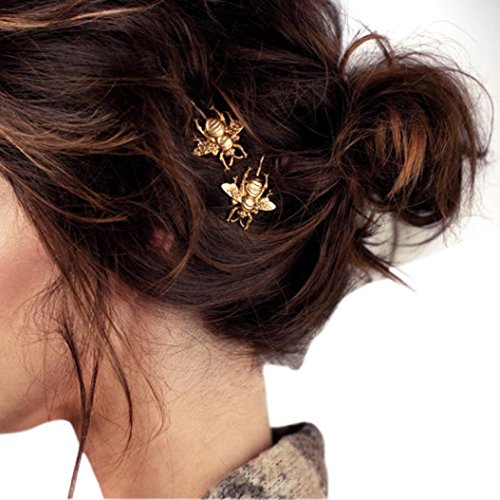 Usstore 2PC Women Girls Exquisite Gold Bee Hairpin Side Clip Hair Accessories