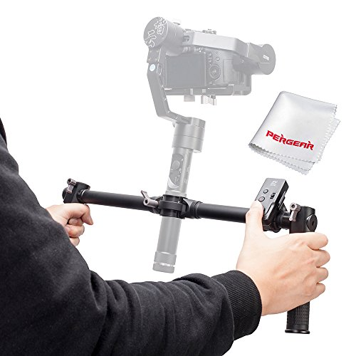 Zhiyun Dual Handheld Grip with Wireless Thumb Controller for Zhiyun Crane V2 Zhiyun Crane M 3 Axis Handheld Gimbal Stabilizer - With PERGEAR Cleaning Kit by Zhiyun