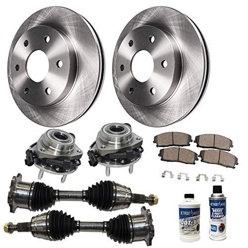 Tahoe Hybrid Chevrolet (Detroit Axle - 10PC Front Wheel Bearing & Hubs, Disc Brake Rotors, Front CV Axle Shafts w/Ceramic Pads and Brake Cleaner Fluid for Chevy GMC Tahoe Suburban Sierra 1500 Avalanche Yukon 4x4 AWD Models)
