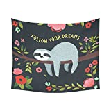 InterestPrint Funny Animals Home Decor Wall Art, Sloth inspirational Quote Follow Your Dream Tapestry Wall Hanging Art Sets 60 X 51 Inches