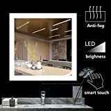 BATH KNOT Led Bathroom Mirror Lighted Backlit Wall Mounted Square Mirror with Defogger Button and Dimmable Memory Touch Button, Very Light White Color Vanity Mirror, 36 x 36 Inch