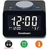 Hondream USB Alarm Clock, Digital Alarm Clocks with USB Phone Charger, Thermometer and LCD screen for Bedroom, Kitchen, Hotel, Table, Desk (Black)