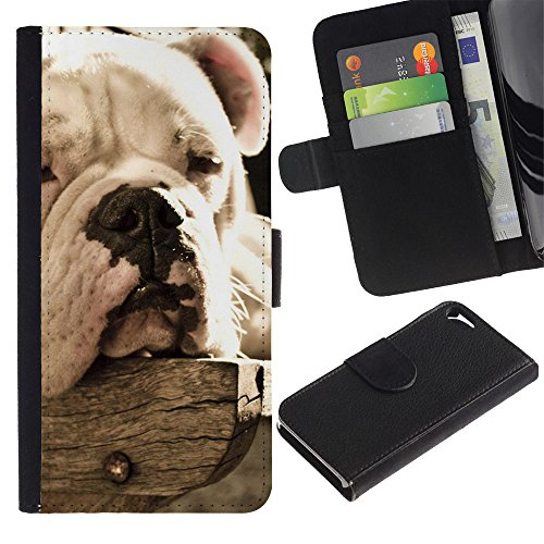 Be Good Phone Accessory // Flip Étui de Protection Cuir Portefeuille Housse Fente Carte Coque pour Apple Iphone 5 / 5S // Bulldog Sleepy Dog Vignette Summer