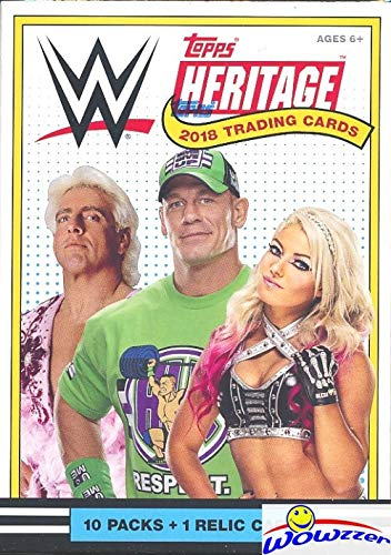 (2018 Topps WWE Heritage Wrestling EXCLUSIVE Factory Sealed Retail Box with RELIC Card! Look for Cards & Autographs of WWE Superstars Sting, AJ Styles, Triple H, Jon Cena The Undertaker & More! WOWZZER)