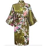 Womens Satin Kimono Robe - Asian and Oriental Peacock Bathrobe (Forest Green Bathrobe), One Size