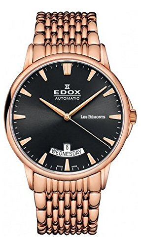 Edox Men's Les Bemonts Analog Display Swiss Automatic Rose Gold Watch
