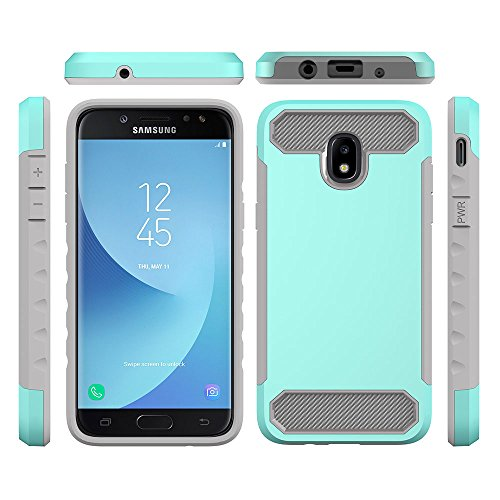 J3 2018,J3 Achieve,J3 Star, Express/Amp Prime 3,J3 V 3rd Gen Case,AUSURE Hybrid Impact 2 Color Shockproof Rugged Soft TPU Hard PC Bumper Anti-Slip Cover for Galaxy J3 2018 (Mint Green+Grey)