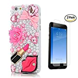 STENES iPhone 6S Plus Case - [Luxurious Series] 3D Handmade Crystal Sparkle Bling Case with Screen Protector & Retro Bowknot Anti Dust Plug - Pretty Rose Flowers Heart Bowknot Sexy Lips Lipstick/Pink