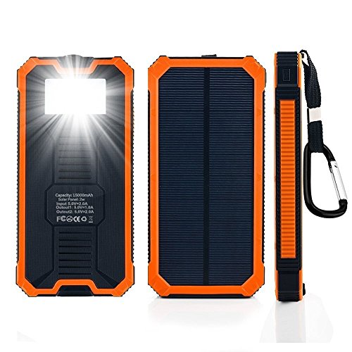 Solar Power Bank 15000mah Portable Dual USB Ports Solar Cell Phone Charger External Backup Bettery Pack with 6 LED Flashlight for iPhone iPad Samsung and More (Orange)