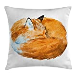 Ambesonne Animal Decor Throw Pillow Cushion Cover, Cute Fox Sleeping Deep Funny Creature Kids Nursery Watercolor Art Design, Decorative Square Accent Pillow Case, 16 X 16 Inches, Apricot White