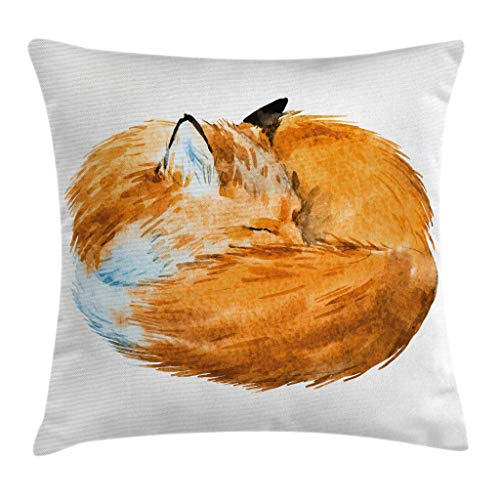 Ambesonne Animal Decor Throw Pillow Cushion Cover, Cute Fox Sleeping Deep Funny Creature Kids Nursery Watercolor Art Design, Decorative Square Accent Pillow Case, 16 X 16 Inches, Apricot White by Ambesonne (Image #3)