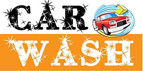 6' Wash (Pre-Printed Car Wash Banner - Stripe - Orange (6' x 3'))