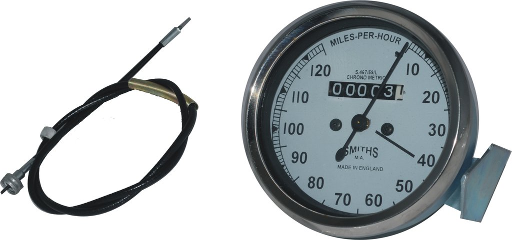 Royal Vintage Spare A117 Smith Replica Speedometer White Faced Bsa Royal Enfield Norten 0-120 Mph +54 Inches Long Speedometer Cable