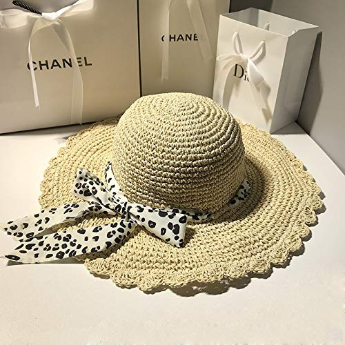ACDGS Cinta de Leopardo Hecho a Mano Crochet Hierba Sombrero Mujer ...