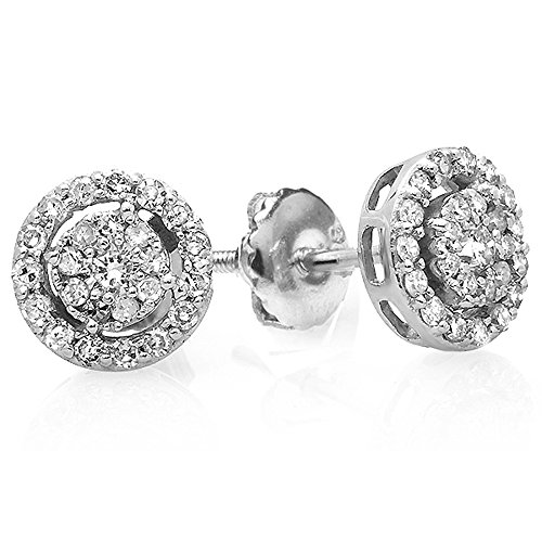 (0.40 Carat (ctw) 18K White Gold Round Cut Diamond Round Shape Cluster Earrings Look of)