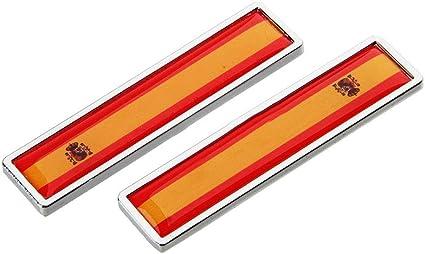 1 Par España Bandera Etiqueta Engomada del Coche de Metal Decorar Etiqueta Emblema de la Insignia para BMW Opel Lada Hyundai Renault Toyota Honda: Amazon.es: Coche y moto