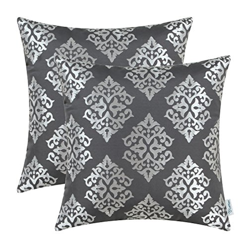 Pack of 2 CaliTime Soft Throw Pillow Covers Cases for Couch Sofa Home Decor, Vintage Damask Floral, 18 X 18 Inches, Grey (Damask Pillows Decorative)