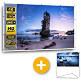 "Full HD Projector Screen 100"" 16:9 with Stand, 4K High Resolution Projection Screen for Outdoor Parties Home Theater School Gaming & Movie Night, Wrinkle-Free, Portable, Free Bag Included"