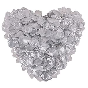 1000 Pcs Silk Artificial Rose Petals Wedding Party Decorations, Silver 6