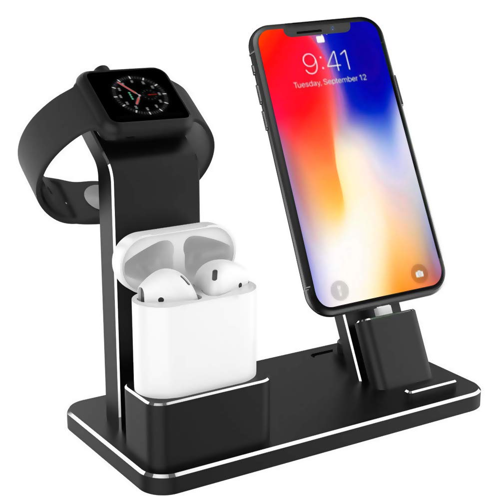 Tinfence Charging Stand for iWatch Charging Stand Dock Station for AirPods iWatch Series 4/3/2/1/ iPhone X/XS/XS Max/8/8Plus/7/7Plus/6S/6S Plus Black by Tinfence
