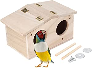 Yuehuam Pet Bird Nests Wooden House Parakeet Breeding Box Cage Birdhouse Accessories for Parrots Swallows Finch Lovebirds Cockatiel Budgie Conure Parrot (9.1x5.1x4.9Inch)