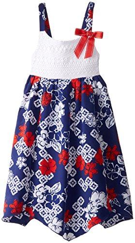 Emily West Big Girls' Crochet Bandana Print Sundress, Red/White/Blue, 12