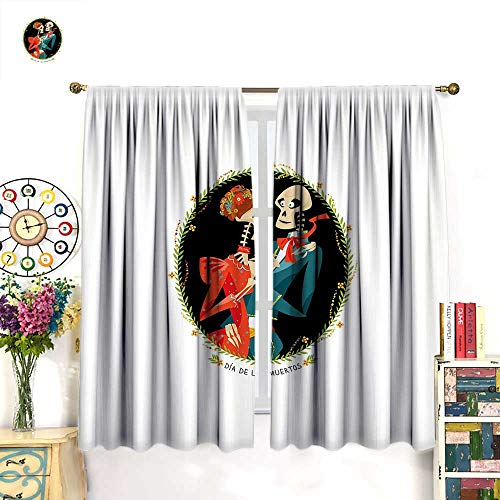 Anniutwo Day of The Dead Blackout Curtain Skeleton Couple in Love Valentines Frame with Leaves Mexican Tradition Thermal Insulating Curtain Multicolor W84 x L84 -