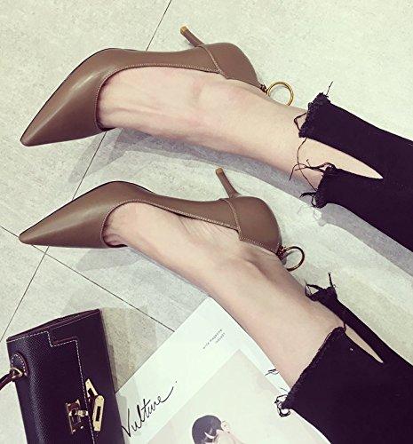 Mujer conmutar alto de zapatos y elegante luz Puerto caqui Ocasional zapatos 6cm moda 36 tacón salvaje los la de punta 35 fina de Transpirable Ajunr Sandalias mujer de RFqO5ww