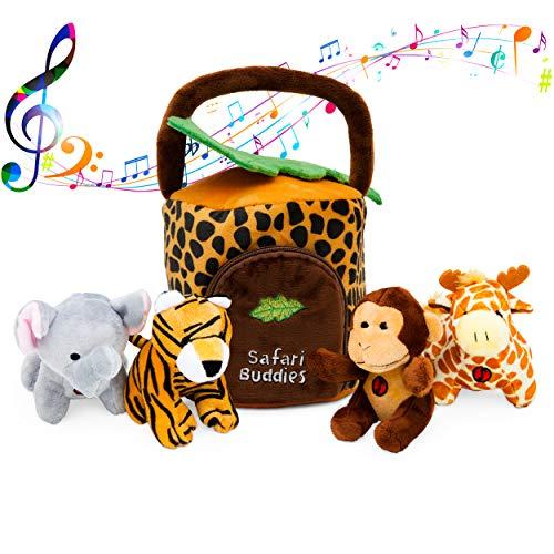 Plush Talking Jungle Animals Toy Set Plush Creations (5 Pcs) | Baby Stuffed Animal Set Includes Elephant, Monkey, Giraffe, Tiger Plush Carrier/Organizer | Great Gift Boys, Girls, Baby -