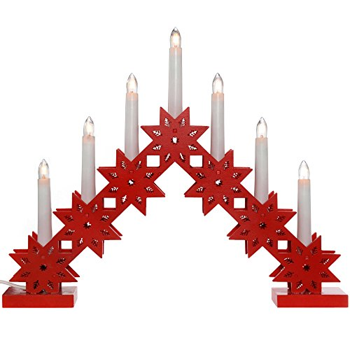 WeRChristmas Pre-Lit Candle Bridge Arch Table Decoration, Wood, 33.5 cm - Red ()