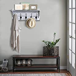 Entryway Rustic Wall Mounted Coat Rack Shelf – Wooden Country Style 24″ Entryway Shelf with 5 Rustic Hooks – Solid Pine Wood. Perfect Touch for Your Entryway, Mudroom, Kitchen, Bathroom and More (White)