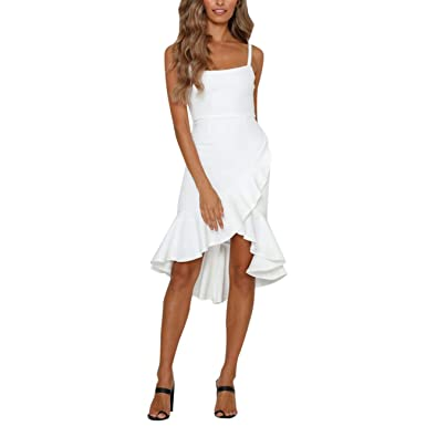 LOVELYOU Vestiti Donna Eleganti da Sera Moda Casual Cocktail Partito Vestito Estivo da Spiaggia Senza Maniche Stampato A Pois Estivi