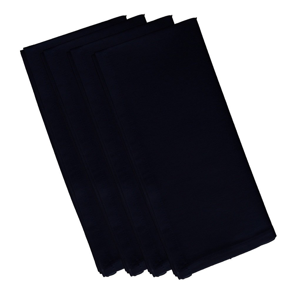 4 Piece Bewitching Dinner Napkin, (Set Of 4), Solid Pattern, Classic And Contemporary Style, Square Shape, Good Qualitie, Everyday Or Special Occasions, Decorative, Cotton Material, Black, Charcoal