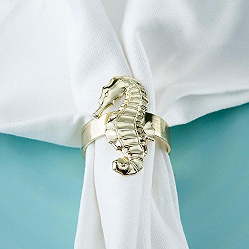 Set of 4 Gold Seahorse Napkin Ring - 18 Sets by Kate Aspen
