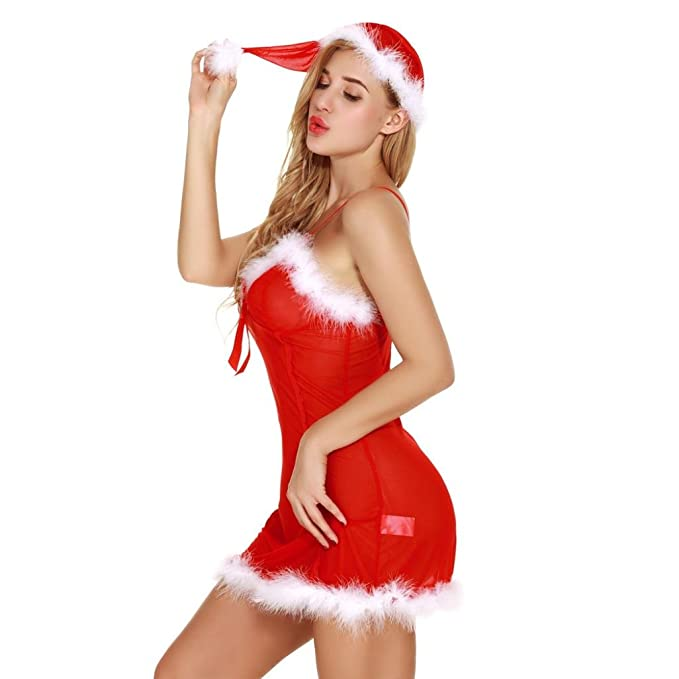 Outtop Christmas Sexy Lingerie Set Women For Sex Nightwear Dress With Santa Hat Xs