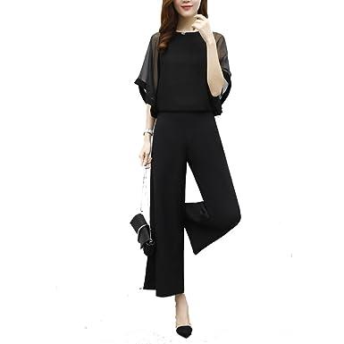 687056ab60db6 MIKOO 結婚式 ドレス パンツドレス セットアップ 袖あり パンツスーツ トップス+ワイドパンツ パーティー