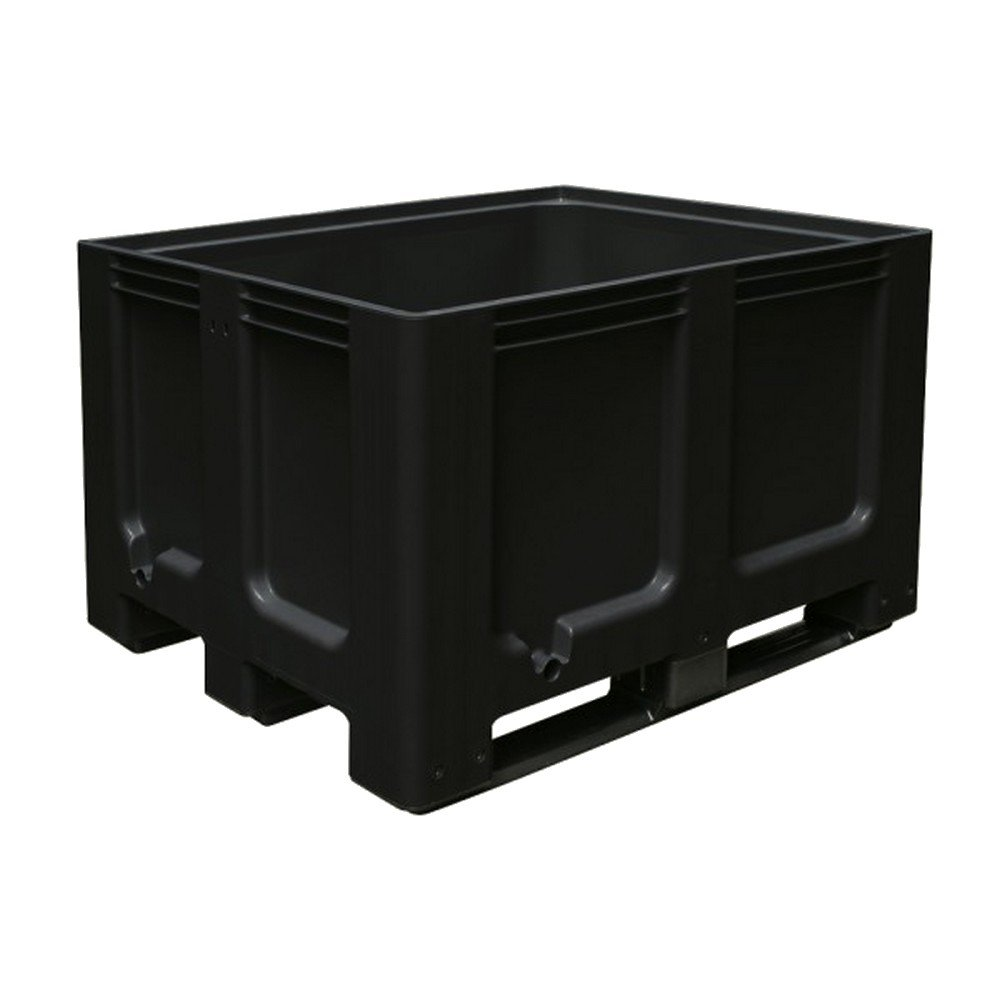 Großbox mit 3 Kufen, LxBxH 1200 x 1000 x 760 mm, geschlossen, anthrazit, PE-HD, lebensmittelecht BRB