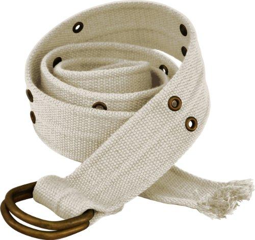 Mens Wide D-Ring White Canvas Belt #O-belt (Cotton Blend Belt)