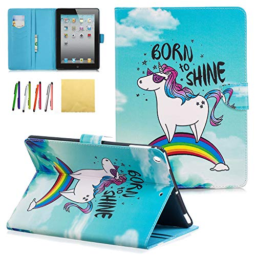 iPad 2 3 4 Case, Coopts Colorful Pattern PU Leather Stand Wallet Smart Case Covers with Auto Sleep/Wake Function for Apple iPad 2nd /3rd / 4th Generation, Rainbow Pony