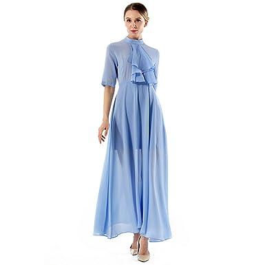 YueLian Sommer Lange Kleider mit Halfärmel Partykleider Abendkleider ...