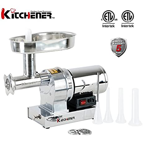 Kitchener 12 Commercial Grade Electric Stainless Steel Meat Grinder 3 4 HP 550W 720 Lbs Per Hour