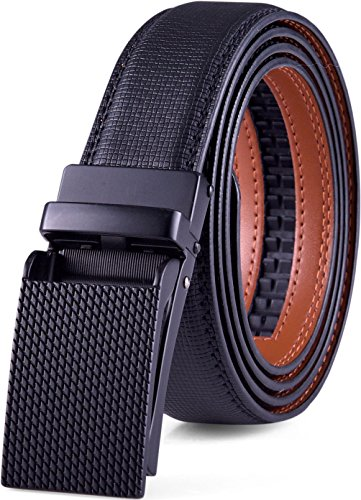 Leather Belt Buckle (Genuine Leather Belt For Men – Ratchet Dress Belt With Automatic Buckle - 1.25