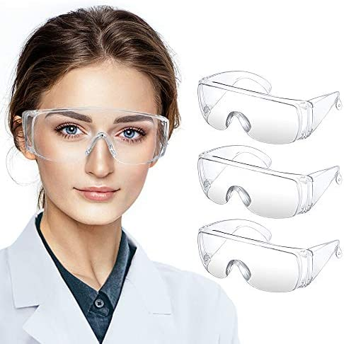 Safety Goggles, KALAOK 3 Packs Safety Glasses Anti-Fog Eye Protection Glasses with Clear Vision, Dust and Wind-Proof, Scratch Resistant, Anti-Splash Goggles for Men and Women